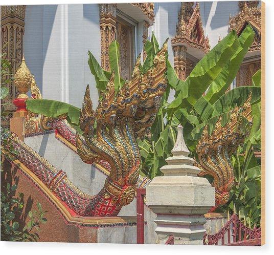 Wat Dokmai Phra Ubosot Stair Naga Dthb1783 Wood Print