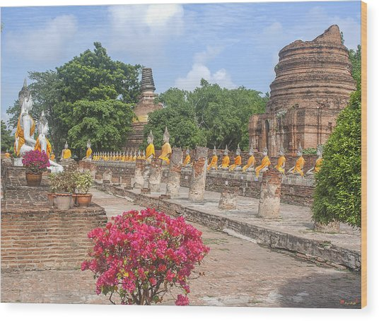 Wat Phra Chao Phya-thai Buddha Images And Ruined Chedi Dtha004 Wood Print