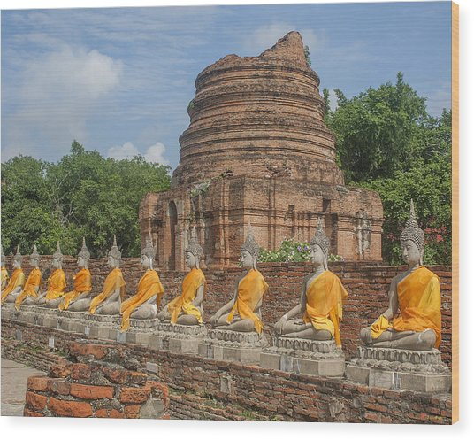 Wat Phra Chao Phya-thai Buddha Images And Ruined Chedi Dtha005 Wood Print