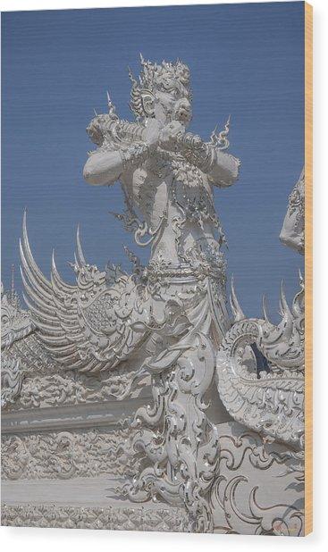 Wat Rong Khun Ubosot Causeway Guardian Dthcr0007 Wood Print