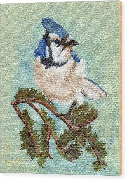Watchful Blue Jay Wood Print