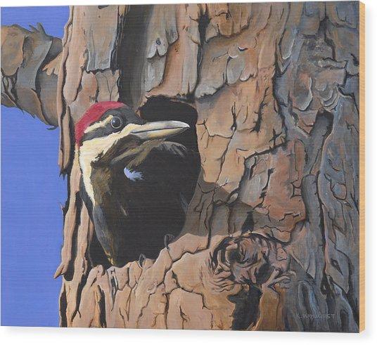 Watchful Woodpecker Wood Print by Kirsten Wahlquist