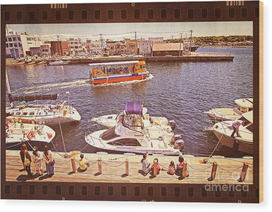 Watching Boats On The Port Wood Print