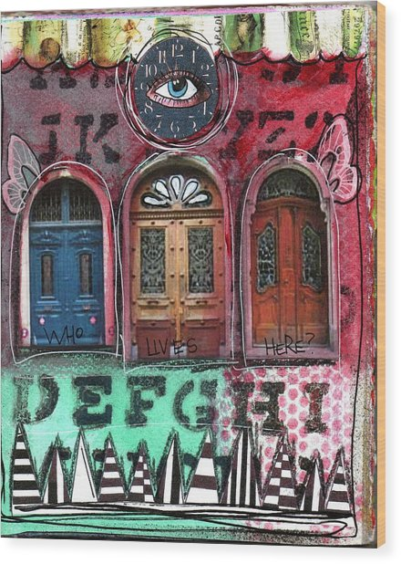 Watching Doors Wood Print by Carrie Todd