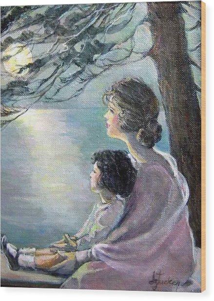 Watching The Moon Wood Print
