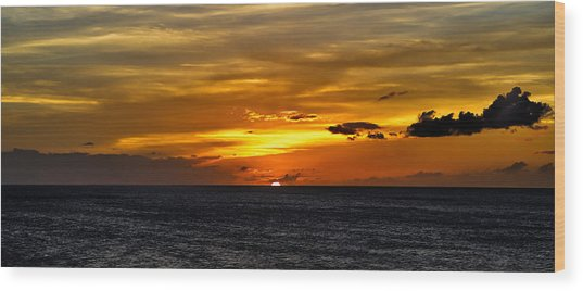 Watching The Sun Set In Barbados  Wood Print