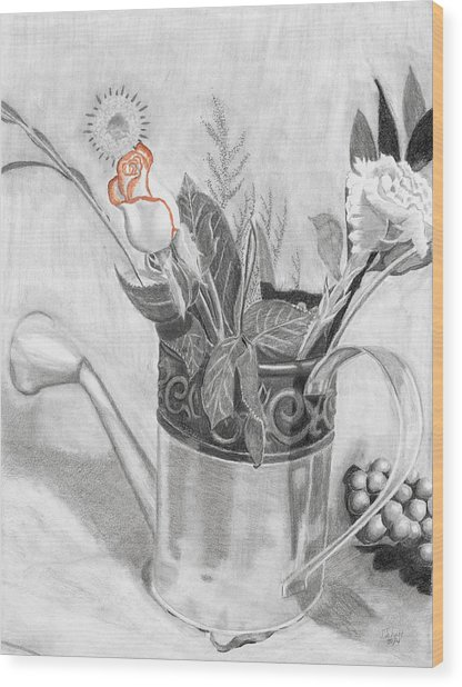 Water Can Bouquet Wood Print