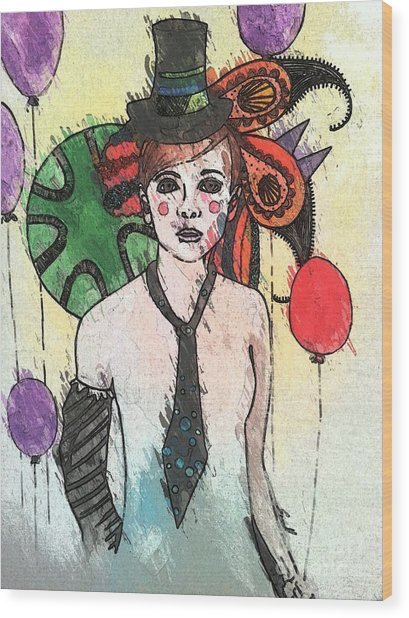 Water Clown Wood Print by Amy Sorrell