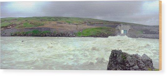 Water Dam For A Hydropower Plant Wood Print by Birgir Freyr Birgisson