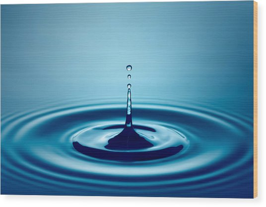 Water Drop Splash Wood Print