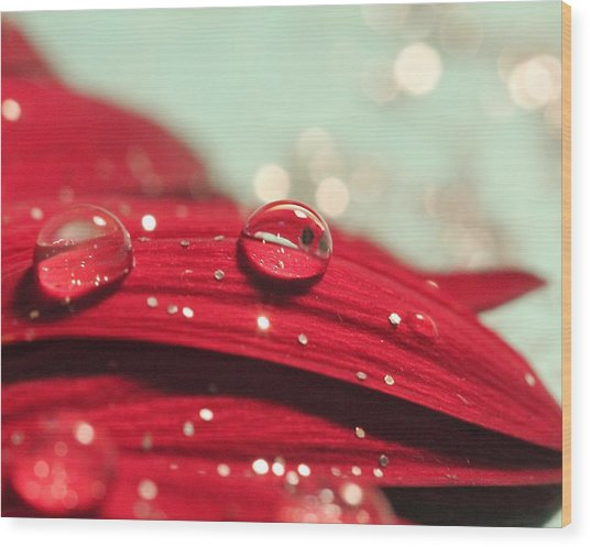 Water Drops And Glitter Wood Print