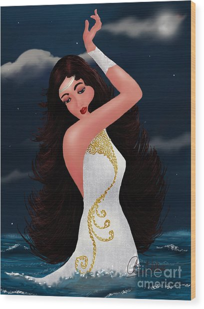 Water Goddess  Wood Print