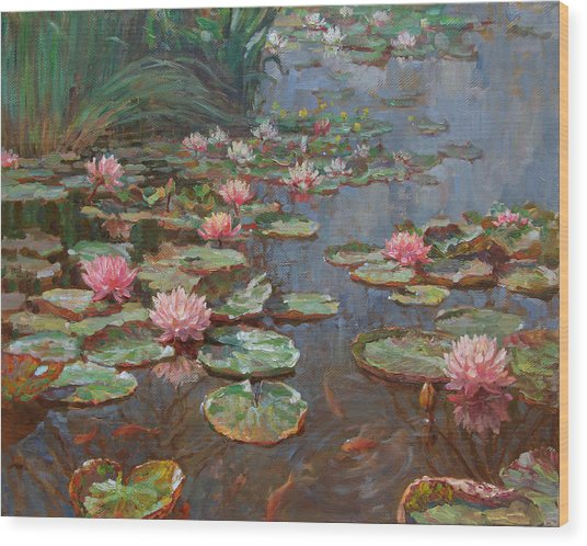 Water Lilies Wood Print by Korobkin Anatoly