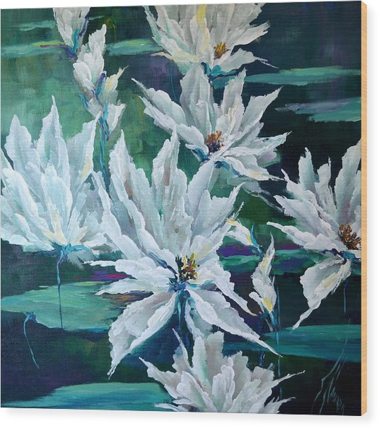 Water Lilies Wood Print by Steven Nevada