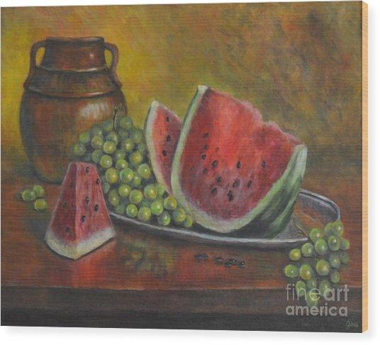 Water Melon Wood Print by Jana Baker
