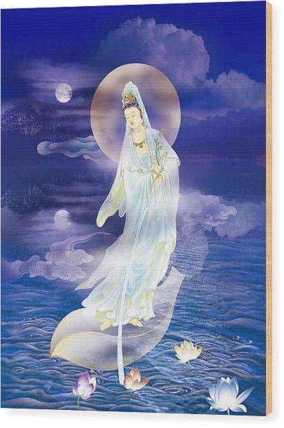 Water Moon Avalokitesvara  Wood Print