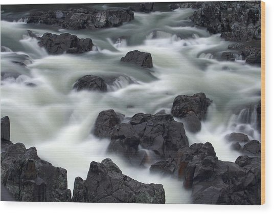 Water Over Rocks Wood Print