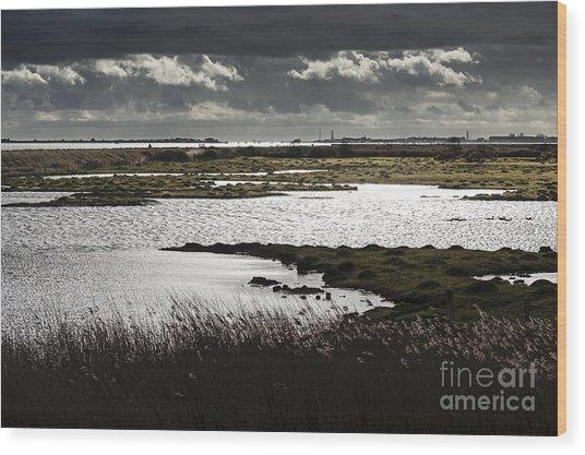 Water Reflection Storm Clouds At Farlington Marshes Wetlands Wood Print