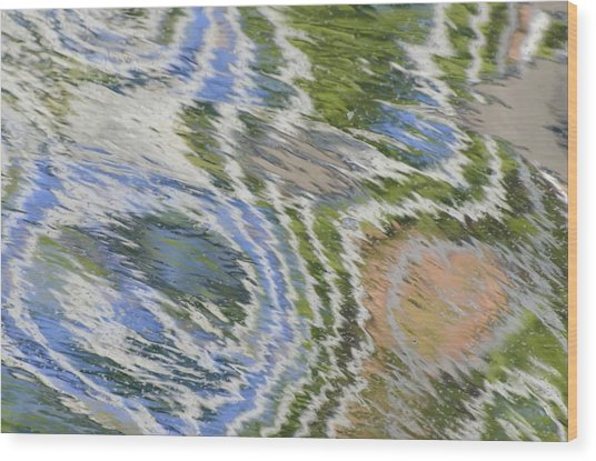 Water Ripples In Blue And Green Wood Print