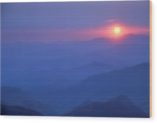 Water Rock Knob Sunset Wood Print