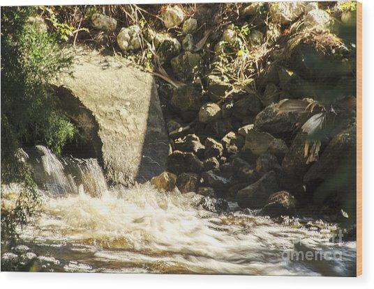 Water Rocks Wood Print