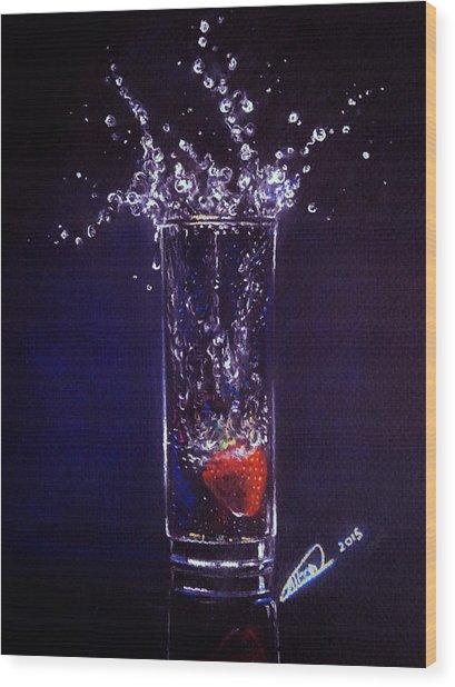 Water Splash Reflection Wood Print