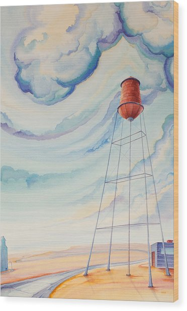 Wood Print featuring the painting Water Tank I by Scott Kirby