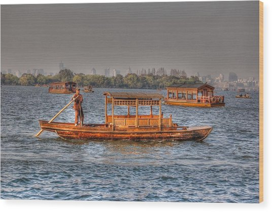 Water Taxi In China Wood Print