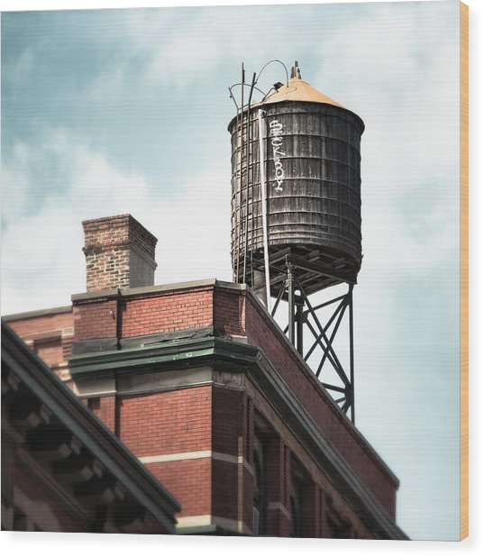Water Tower In New York City - New York Water Tower 13 Wood Print