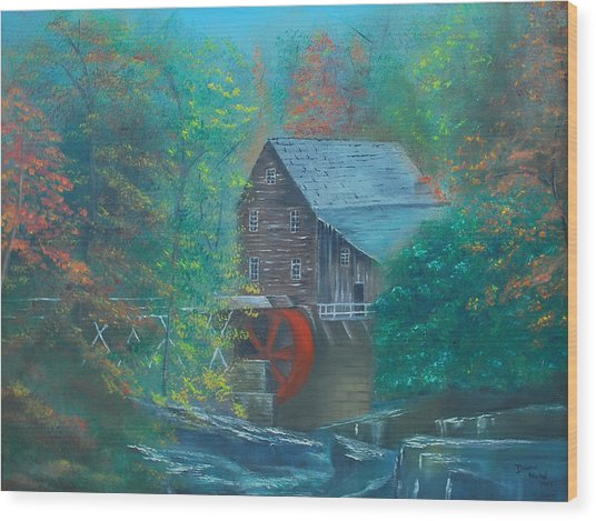 Water Wheel House  Wood Print