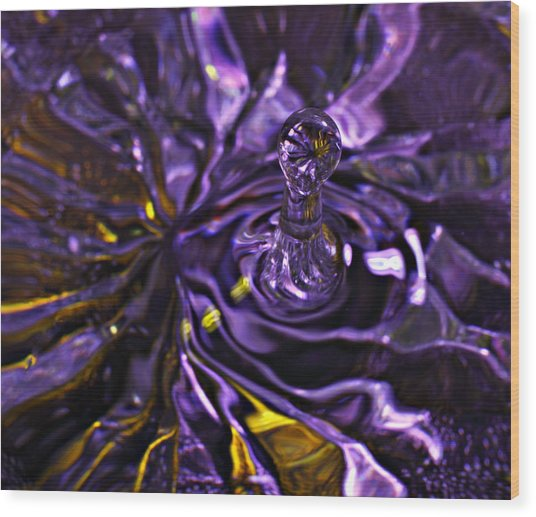 Water Works 01 - The Color Purple Wood Print