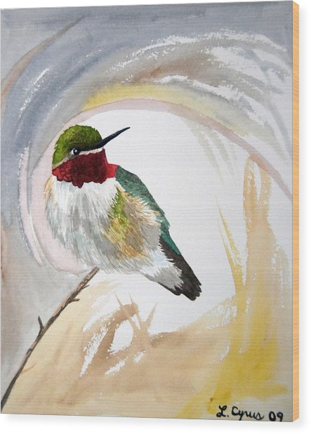 Watercolor - Broad-tailed Hummingbird Wood Print