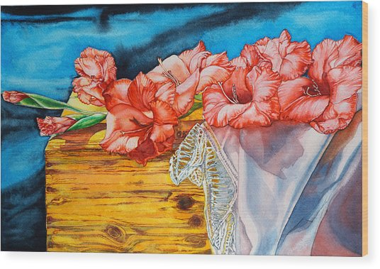 Watercolor Exercise Gladiolas Wood Print