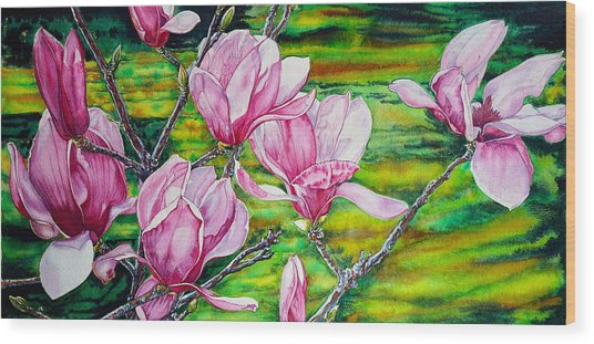 Watercolor Exercise Magnolias Wood Print