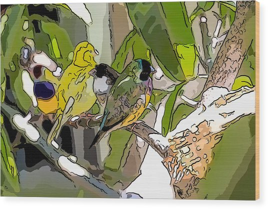 Watercolor Finches  Wood Print