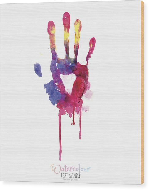 Watercolor Hand Illustration Wood Print by Vectorig