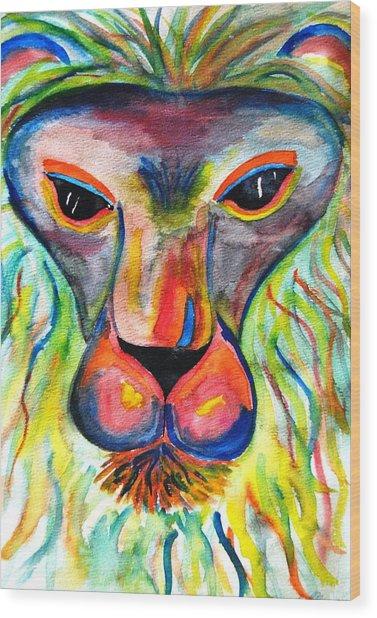 Watercolor Lion Wood Print