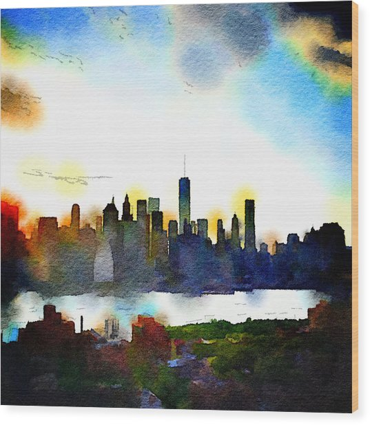 Watercolor Manhattan Wood Print