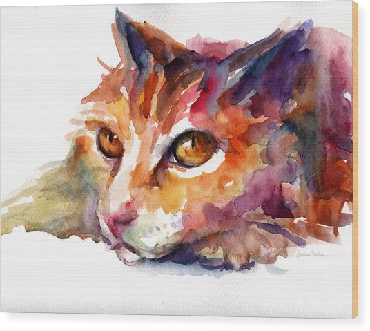 Watercolor Orange Tubby Cat Wood Print