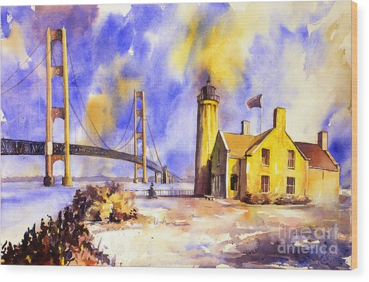 Watercolor Painting Of Ligthouse On Mackinaw Island- Michigan Wood Print