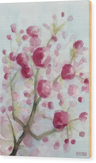 Watercolor Painting Of Pink Cherry Blossoms Wood Print