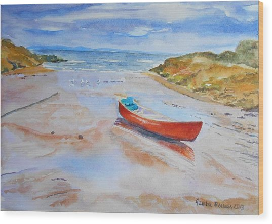 Watercolor Painting Of Red Boat Wood Print