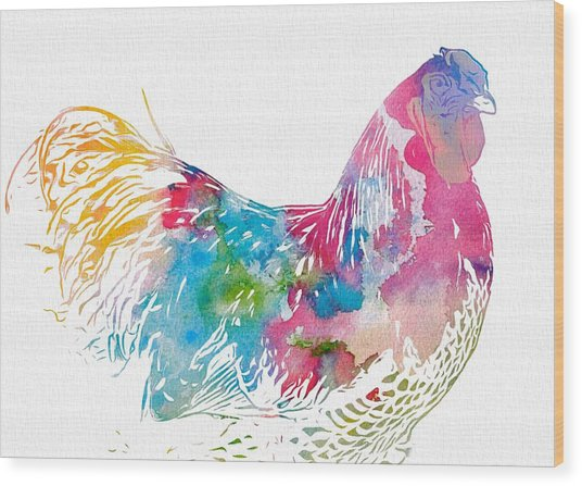 Watercolor Rooster Wood Print