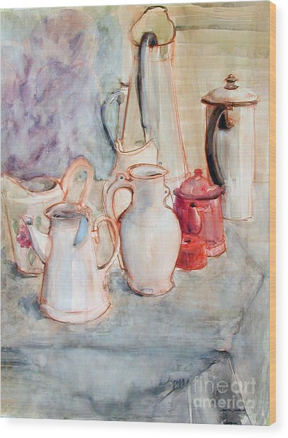 Watercolor Still Life With Red Can Wood Print