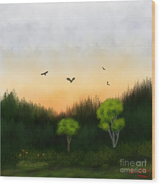 Watercolor Sunset 2 Wood Print