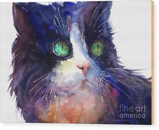 Watercolor Tuxedo Tubby Cat Wood Print