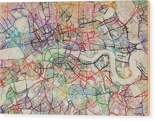 Watercolour Map Of London Wood Print