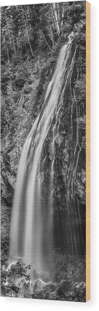 Waterfall 3 Bw Wood Print