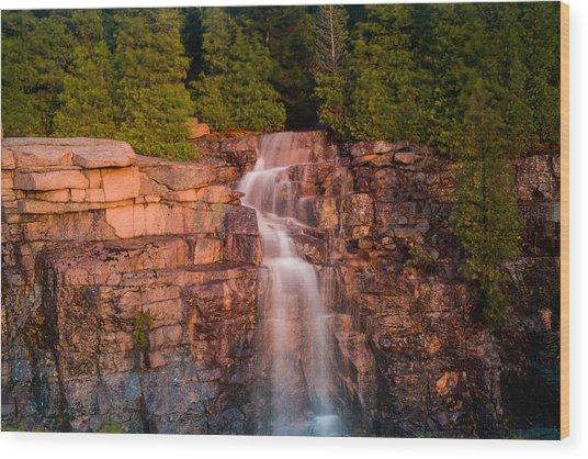 Waterfall Wood Print by Allan Johnson
