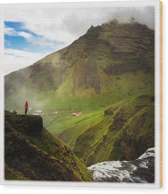 Waterfall And Mountain In Iceland Wood Print